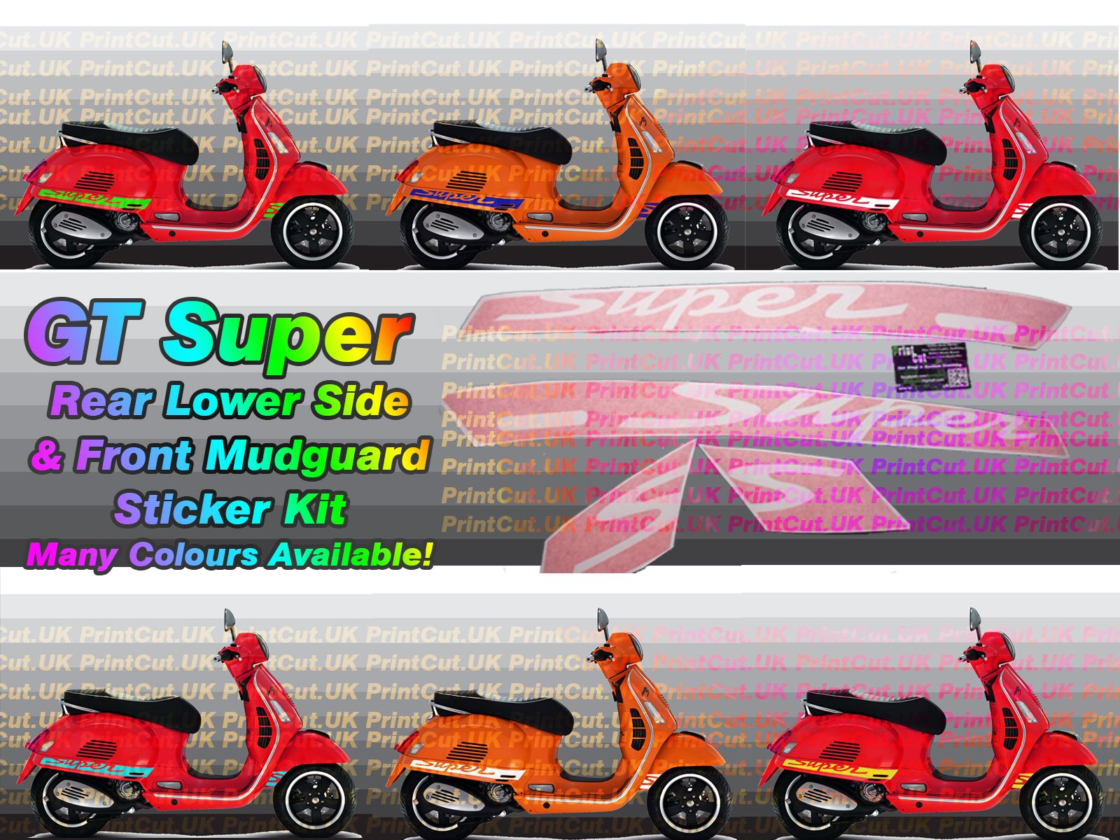 Vespa Gts Super Decal Sticker Kit Gt Aftermarket