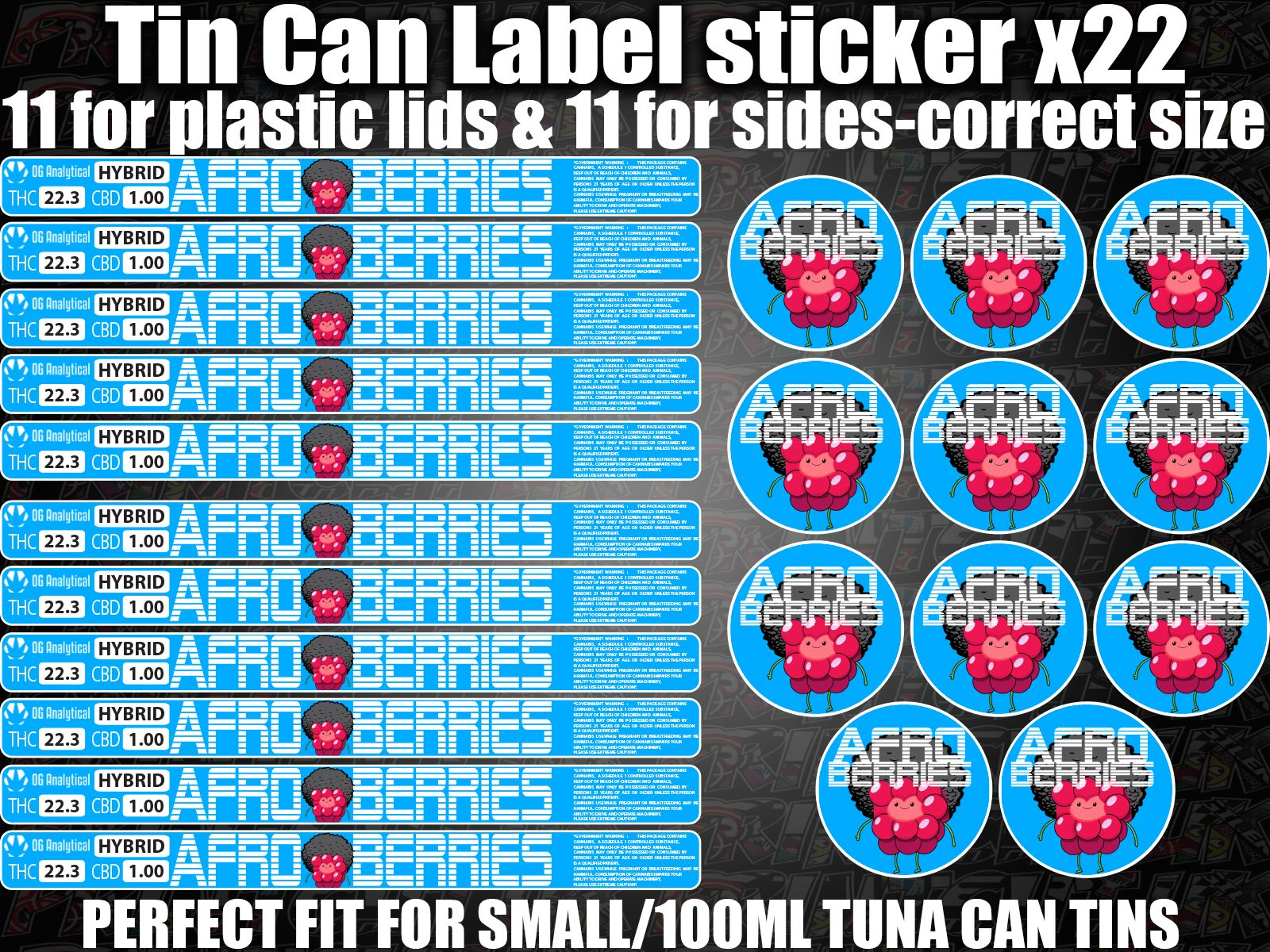 AFRO BERRIES Cali pressitin tuna Tin Labels Stickers RX Medical HIGH