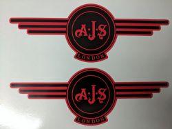 AJS London Stickers x2 A.J.S Decal Logo Tank Motorcycle Vintage Black /& BLUE B