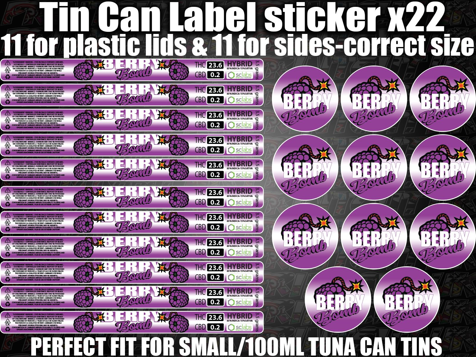 BERRY BOMB Cali pressitin Tin Labels Stickers RX Medical HIGH QUALITY