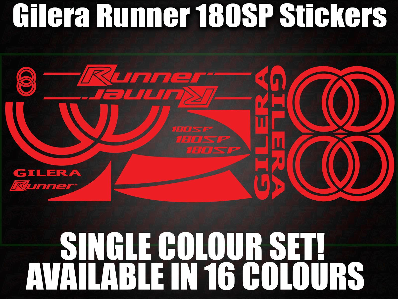 Gilera runner 180 sp large decals stickers 50 70 125 172 183 210
