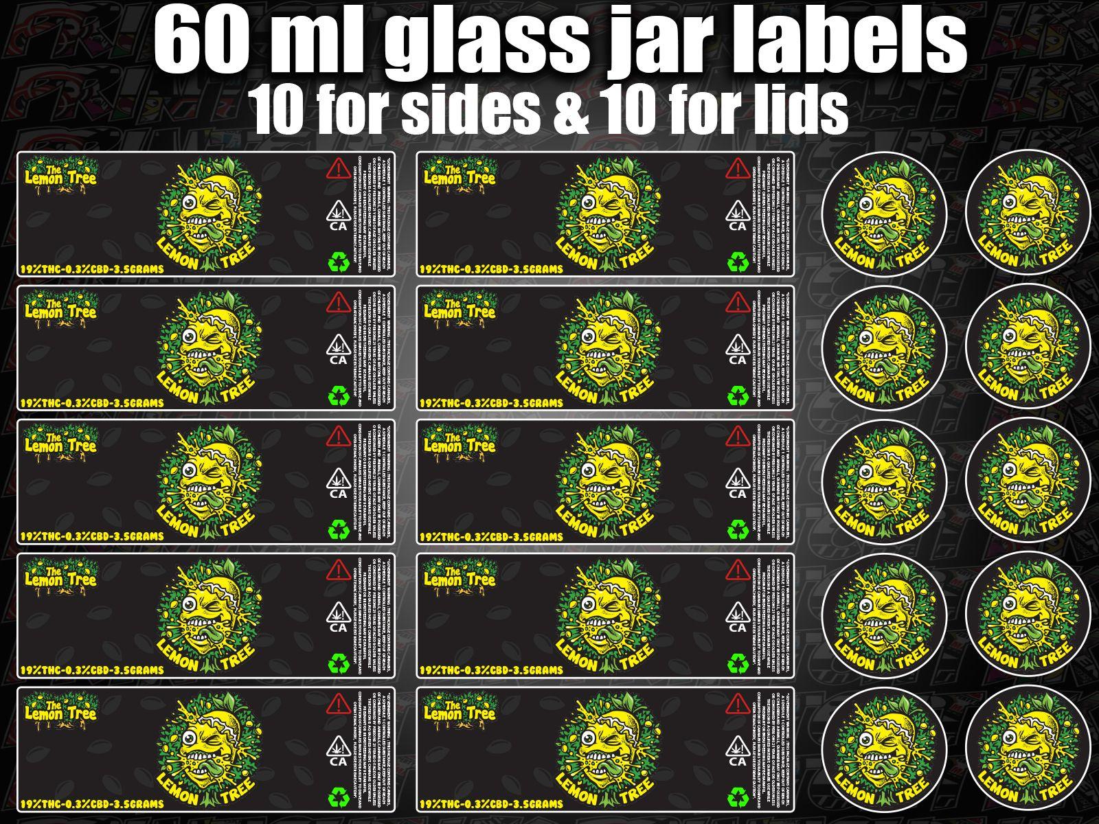 LEMON TREE 60ml glass cali jar labels RX pressitin HIGH QUALITY