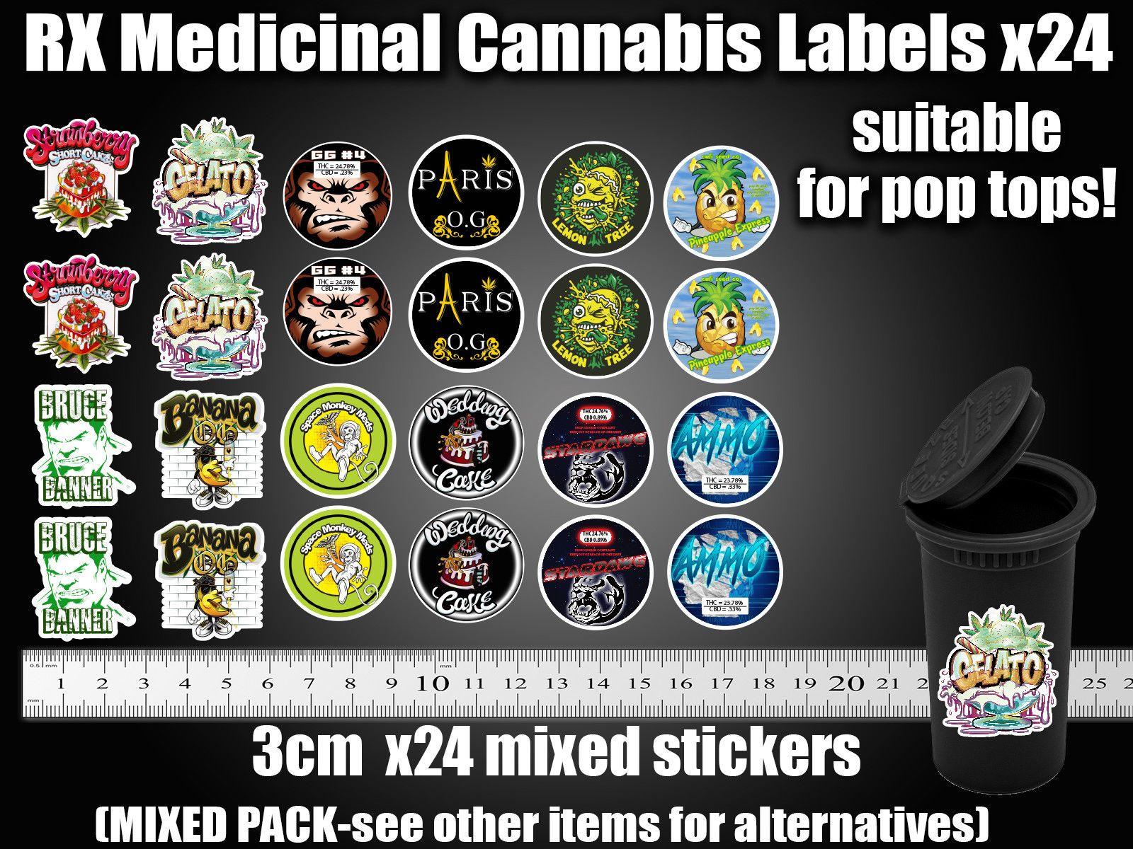 MIXED CALI Cannabis Labels 13 19 Dram pop top JAR TIN RX Medical Marijuana  weed