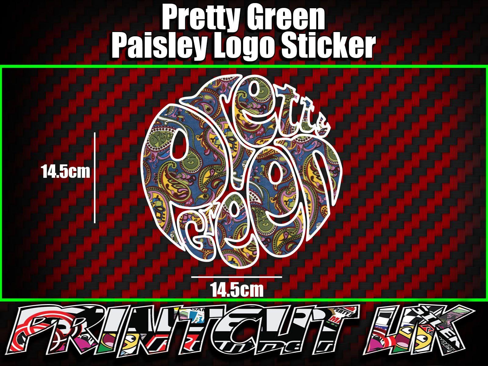 Pretty Green Paisley Logo Sticker X1 Vespa Scooter Lambretta Mod Scomadi