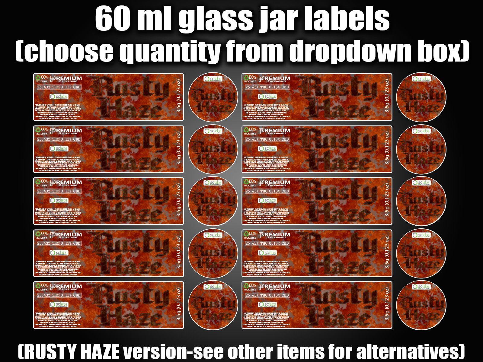 RUSTY HAZE 60ml glass cali jar labels RX pressitin HIGH QUALITY