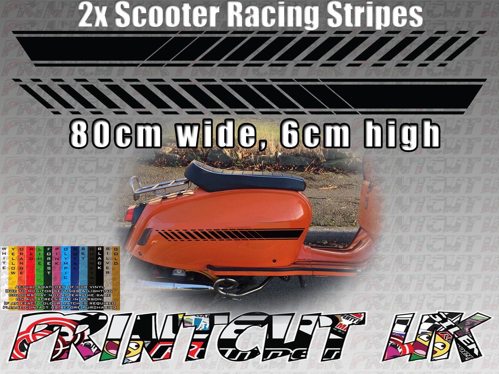 Scooter racing stripes stickers for scomadi vespa lambretta