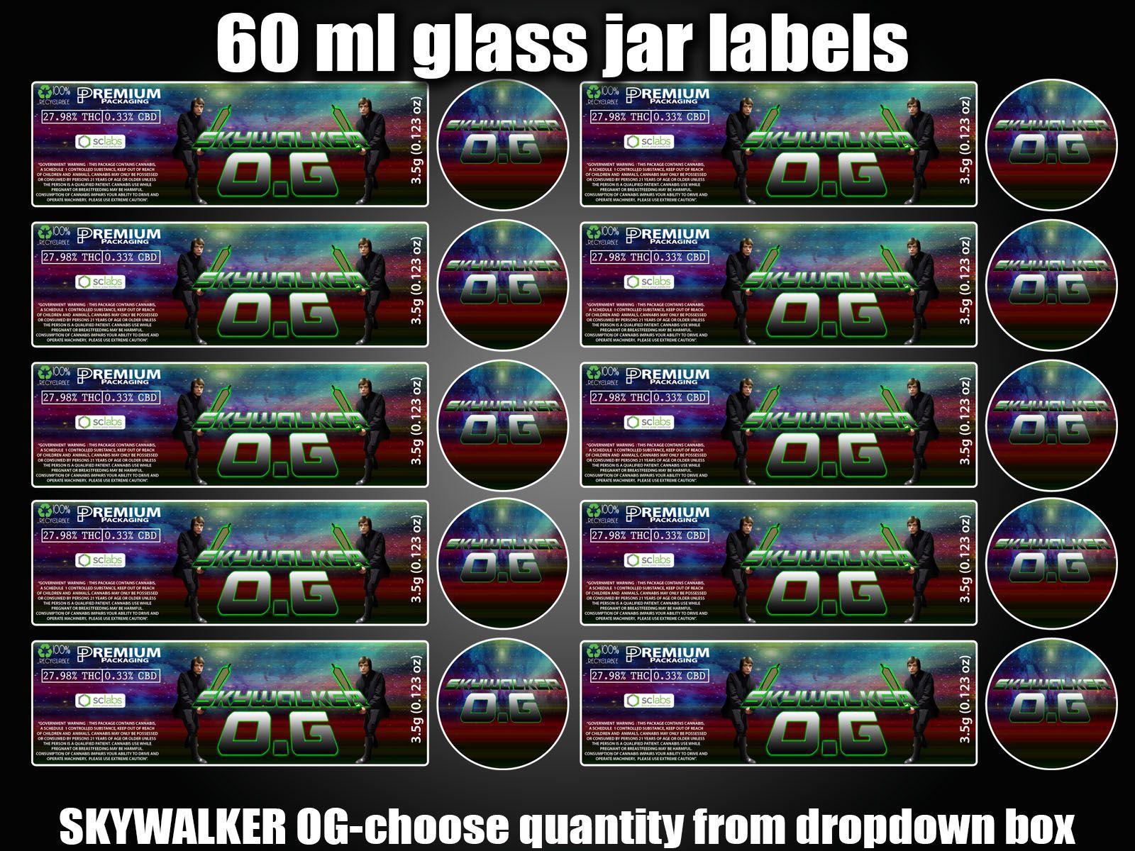 SKYWALKER O G 60ml glass cali jar labels RX pressitin HIGH QUALITY