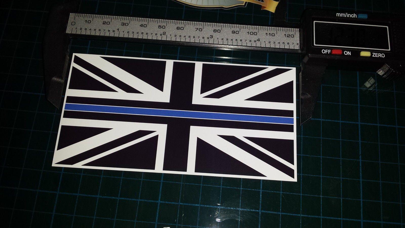 Thin Blue Line Police Union Jack Black White Blue Colour