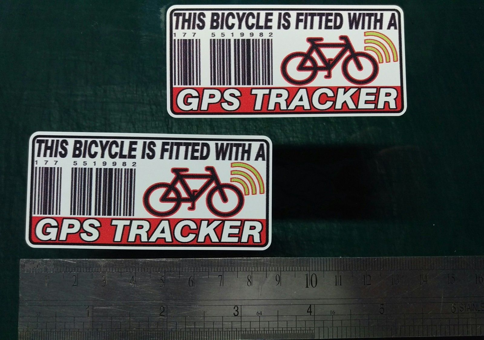 This Bicycle Is Fitted With A Gps Tracker Sticker Decal X2