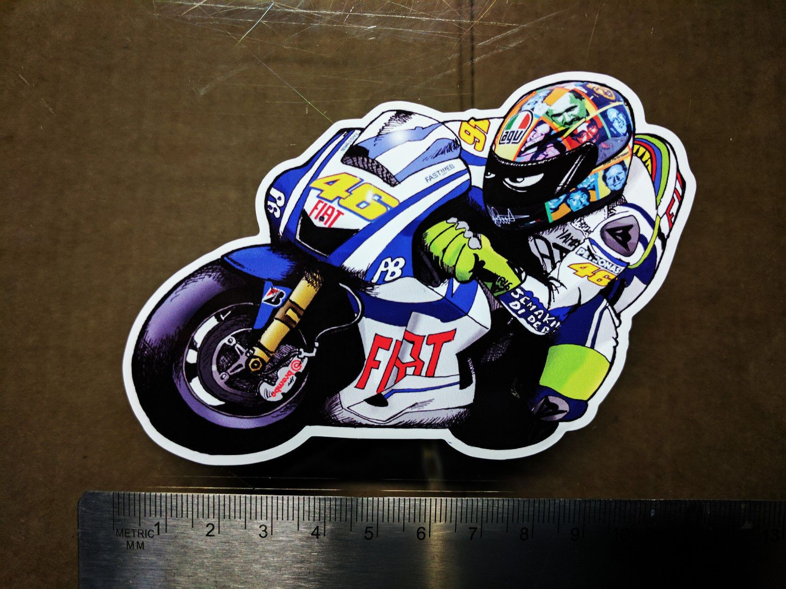 valentino rossi decal sticker moto gp laptop helmet bike car scooter 46 agv hd. Black Bedroom Furniture Sets. Home Design Ideas