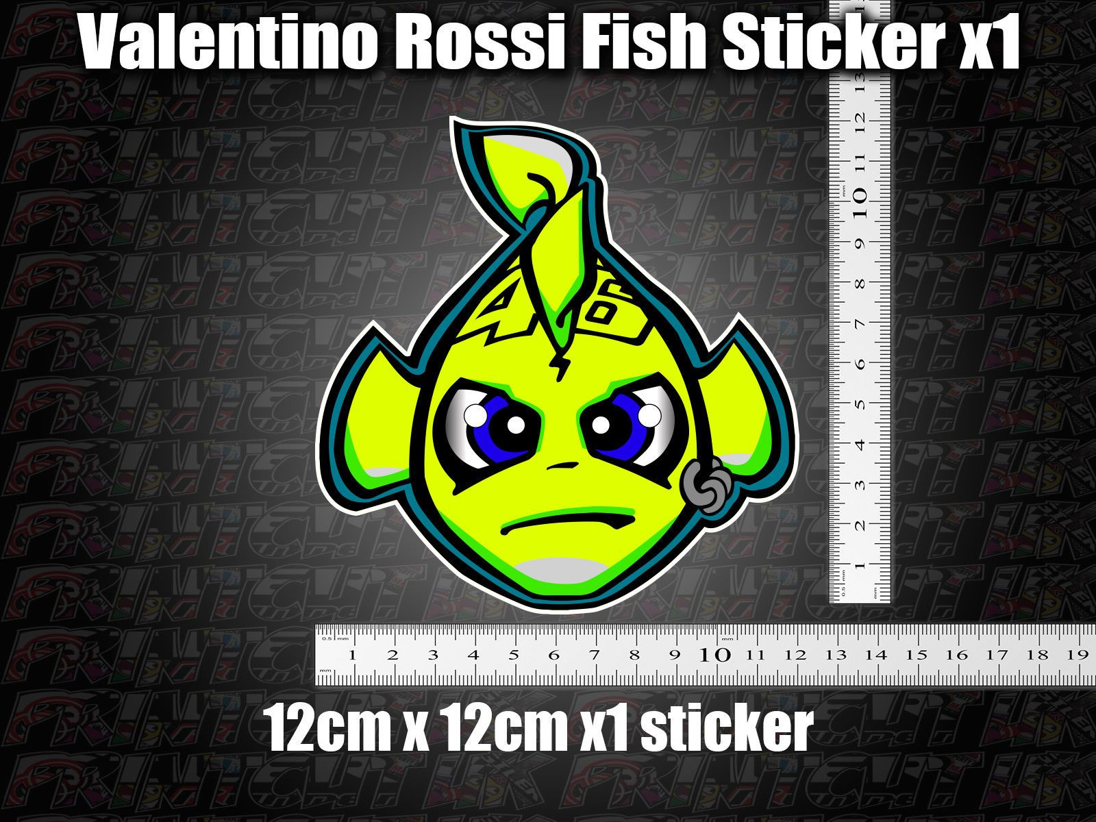 Valentino Rossi Fish Decal Sticker X1 Helmet Bike Car