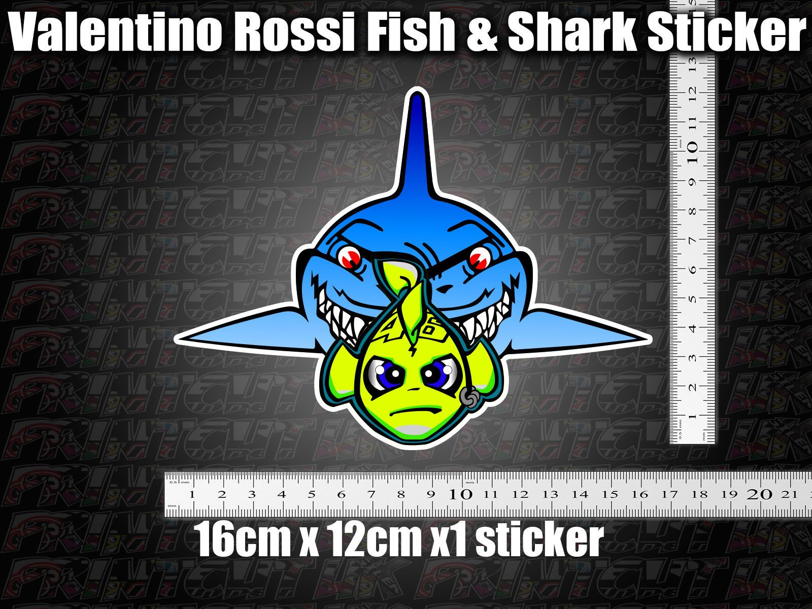 Valentino Rossi Fish Amp Shark Decal Sticker X1 Helmet Bike