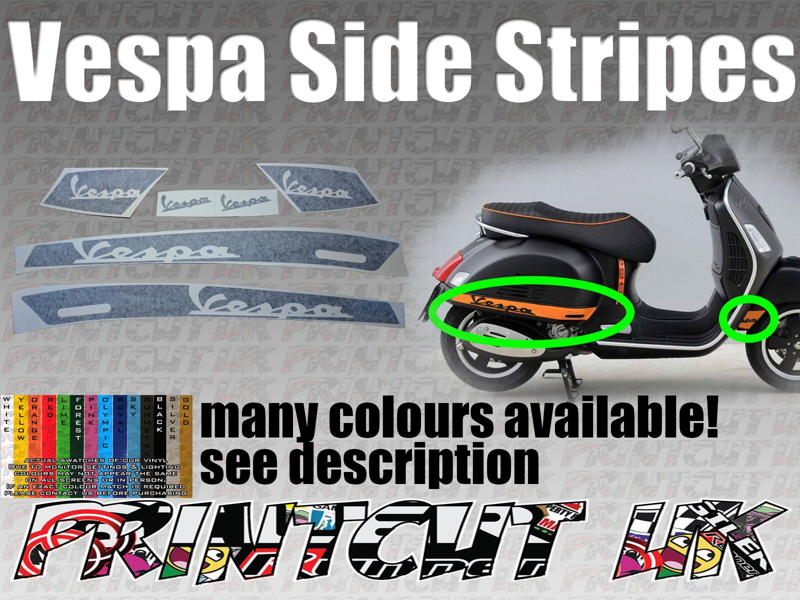 Vespa GTS Super Decal Sticker Kit GT custom vespa text