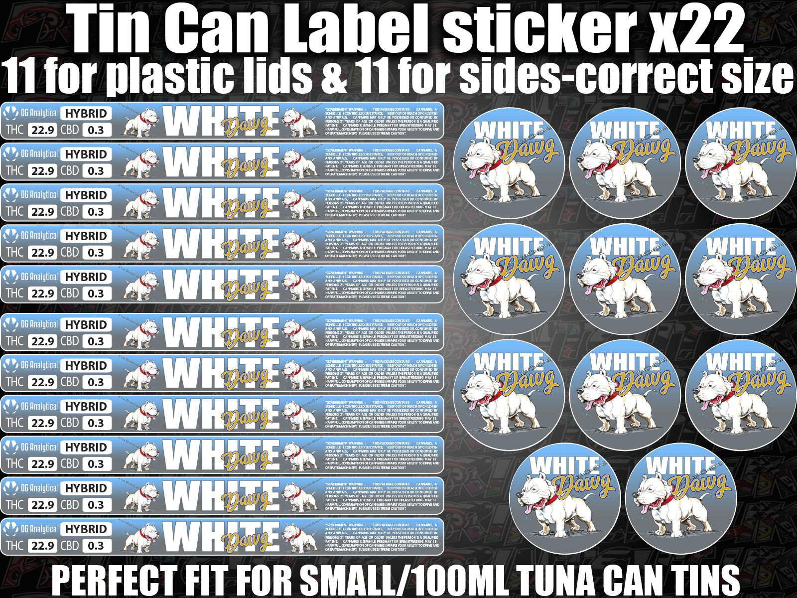 White Dawg Cali Tin Can Labels Stickers Marijuana Weed Rx
